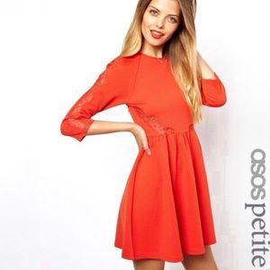 NWT ASOS Petite Orange Skater Dress w Lace Insert